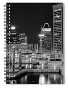 Panoramic Baltimore In Black And White Spiral Notebook