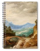 Panoramic Landscape With Travellers Spiral Notebook