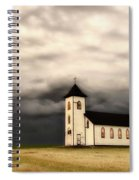 Panoramic Lightning Storm And Prairie Church Spiral Notebook