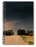 Panoramic Lightning Storm In The Prairie Spiral Notebook