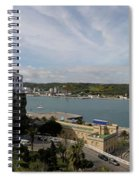 panoramic town 1  - Panorama of Mahon Menorca with old town and harbour Spiral Notebook
