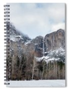 Panoramic View Of Snowed Peaks In Yosemite Park With Snow On The Spiral Notebook