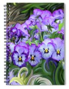Pansey Flowers And Swirls  Spiral Notebook
