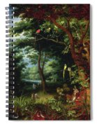 Paradise Scene With Adam And Eve Spiral Notebook