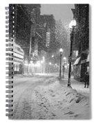 Paramount Snowstorm Boston Ma Washington Street Black And White Spiral Notebook