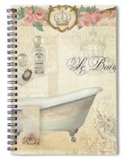 Parchment Paris - Le Bain Or The Bath Chandelier And Tub With Roses Spiral Notebook