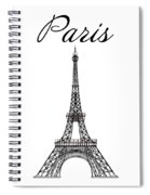 Paris And The Eiffel Tower - Black Spiral Notebook