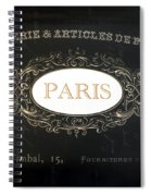 Paris Black And White Gold Typography Home Decor - French Script Paris Wall Art Home Decor Spiral Notebook