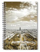 Paris City View 20 Sepia Spiral Notebook