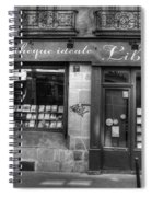 Paris France Book Store Library Black And White Spiral Notebook