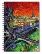 Paris Gargoyle Contemplation Textural Impressionist Stylized Cityscape Spiral Notebook