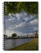 Park Scene With Rower And Skyline Spiral Notebook