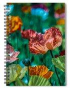 Pastel Poppies On Blue Haze Spiral Notebook