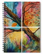 Patchwork Sky Tree Painting With Colorful Sky Spiral Notebook