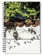 Patterned Sunshine - Ginkgo Shadows On A White Stucco Wall Spiral Notebook