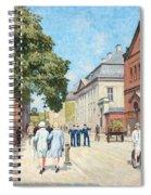 Paul Fischer, Sunny Street Scene, Bredgade, Copenhagen. Spiral Notebook