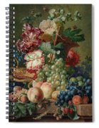 Paulus Theodorus Van Brussel - Still Life Of Flowers And Fruit On A Stone Ledge, Spiral Notebook