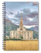 Payson Utah Lds Temple, Sunset View Of The Mountains And Grass Spiral Notebook