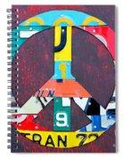 Peace License Plate Art Spiral Notebook