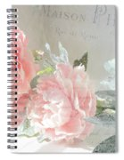 Peach Peonies Impressionistic Peony Floral Prints - French Impressionistic Peach Peony Prints Spiral Notebook