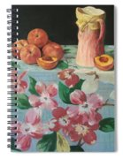 Peaches On Floral Tablecloth Spiral Notebook