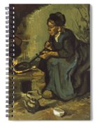 Peasant Woman Cooking By A Fireplace Spiral Notebook