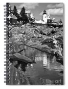 Pemaquid Point Lighthouse Maine Black And White Spiral Notebook