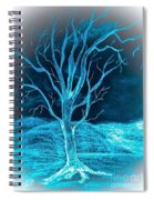 Pencil Sketch Of A Tree And Hills In Abstract Spiral Notebook