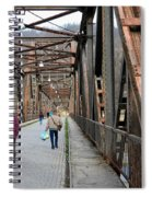 People Crossing Old Yugoslav Weathered Metal Bridge Crossing In Bosnia Hercegovina Spiral Notebook