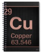 Periodic Table Of Elements - Copper - Cu - Copper On Black Spiral Notebook