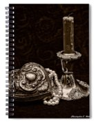 Pewter And Pearls - Sepia Spiral Notebook