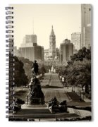 Philadelphia Benjamin Franklin Parkway In Sepia Spiral Notebook