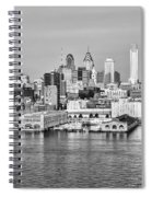 Philadelphia From The Waterfront In Black And White Spiral Notebook
