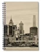 Philadelphia From The Waterfront In Sepia Spiral Notebook
