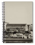Philadelphia Museum Of Art And The Fairmount Waterworks From West River Drive In Black And White Spiral Notebook