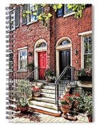 Philadelphia Pa - Townhouse With Red Geraniums Spiral Notebook