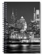 Philadelphia Philly Skyline At Night From East Black And White Bw Spiral Notebook