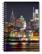 Philadelphia Philly Skyline At Night From East Color Spiral Notebook
