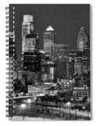 Philadelphia Skyline At Night Black And White Bw  Spiral Notebook