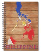 Philippines Rustic Map On Wood Spiral Notebook