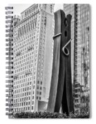 Philly Clothepin And City Hall Reflection In Black And White Spiral Notebook