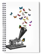 Phonograph And Butterflies Print Spiral Notebook