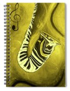 Piano Keys In A  Saxophone Golden - Music In Motion Spiral Notebook
