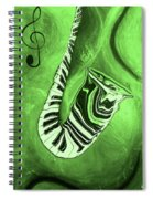 Piano Keys In A  Saxophone Green Music In Motion Spiral Notebook