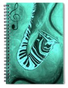 Piano Keys In A  Saxophone Teal Music In Motion Spiral Notebook