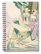 Picnic And Fishing Scene Spiral Notebook