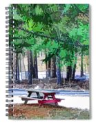 Picnic Area With Wooden Tables 3 Spiral Notebook