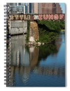 Picturesque View Of The Railroad Graffiti Bridge Over Lady Bird Lake As Canoes And Kayakers Paddle Under The Bridge On A Beautiful Summers Day Spiral Notebook