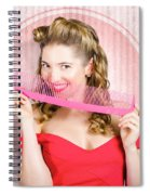 Pin Up Hairdresser Woman With Hair Salon Brush Spiral Notebook
