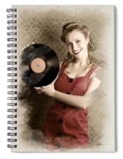 Pin-up Rockabilly Woman Holding Vinyl Record Lp Spiral Notebook